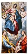 El Greco's Madonna And Child With Saint Martina And Saint Agnes Beach Towel
