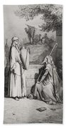 Eliezer And Rebekah Beach Towel by Gustave Dore