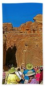 Entering Mile-long And 600 Foot High Gorge Leading To Treasury In Petra-jordan  Beach Towel