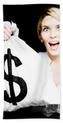 Euphoric Business Woman Holding Unexpected Windfall Beach Towel