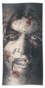 Evil Dead Vampire Woman Looking In Bloody Window Beach Towel