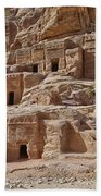 facade street in Nabataean ancient town Petra Beach Towel by Juergen Ritterbach