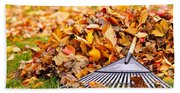 Fall Leaves With Rake Beach Towel
