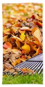 Fall Leaves With Rake Beach Towel