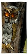 Faux Owl With Golden Eyes Beach Towel