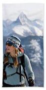 Female Backcountry Skier Skinning Beach Towel