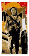 Female Soldier With Mexican Flag  Unknown Location C. 1914-2014 Beach Towel