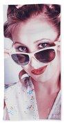 Fifties Glamor Girl Wearing Retro Pin-up Fashion Beach Towel