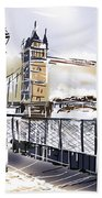 Fine Art Drawing The Tower Bridge In London Uk Beach Towel