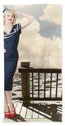 Fine Art Vintage Pin-up. Vacation Departure Dock Beach Towel