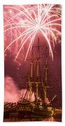 Fireworks Exploding Over Salem's Friendship Beach Towel
