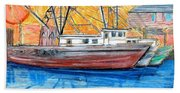 Fishing Trawler Beach Sheet