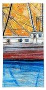 Fishing Trawler Beach Towel