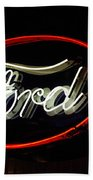 Ford Neon Sign Beach Towel