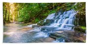 Forest Stream And Waterfall Beach Sheet