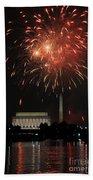 Fourth Of July Fireworks At Washington Dc Beach Towel