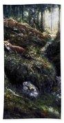 Fox In The Wood Beach Towel