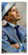 Frank Sinatra  Beach Towel by Ylli Haruni