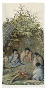 Fuegans In Their Hut, 18th Century Beach Towel