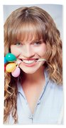 Fun Party Girl With Balloons In Mouth Beach Towel