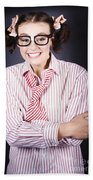 Funny Female Business Nerd With Big Geeky Smile Beach Towel