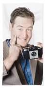 Funny Man Gesturing Big Smile With Vintage Camera Beach Towel