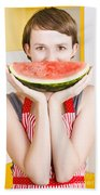 Funny Woman With Juicy Fruit Smile Beach Towel