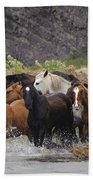 Gaucho With Herd Of Horses Beach Towel