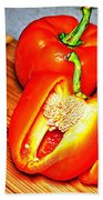 Glowing Peppers With Texture Beach Towel