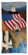 God Bless America Hand Embroidery Beach Towel