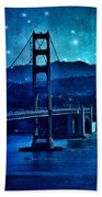 Golden Gate Bridge Night Beach Towel