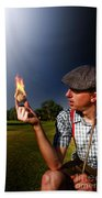 Golf Ball Flames Beach Towel
