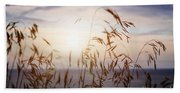 Grass At Sunset Beach Towel