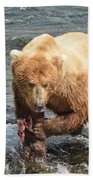 Grizzly Bear Salmon Fishing Beach Towel