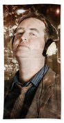 Groovy Retro Clubbing Guy At A Silent Trance Rave Beach Towel