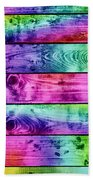 Grunge Colorful Wood Planks Background Beach Towel