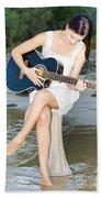 Guitar Woman Beach Towel