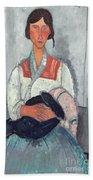Gypsy Woman With Baby Beach Towel by Amedeo Modigliani