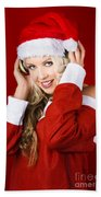 Happy Dj Christmas Girl Listening To Xmas Music Beach Towel