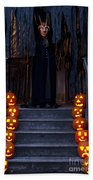 Haunted House With Lit Pumpkins And Demon Beach Towel