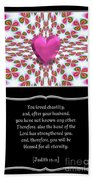Heart And Love Design 16 With Bible Quote Beach Towel