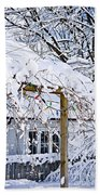 House Under Snow Beach Towel by Elena Elisseeva