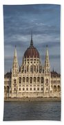 Hungarian Parliament Building Afternoon Beach Towel