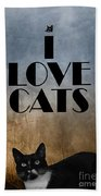 I Love Cats Beach Towel