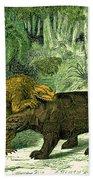 Iguanodon Biting Megalosaurus Beach Towel