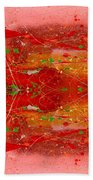 Golden Abstract Painting  Beach Towel