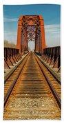 Iron Railroad Bridge Over Water, Texas Beach Towel