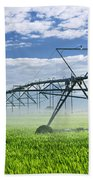 Irrigation Equipment On Farm Field Beach Towel by Elena Elisseeva