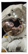 Iss Expedition 38 Spacewalk Beach Towel by Science Source