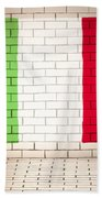 Italy Flag Brick Wall Background Beach Towel